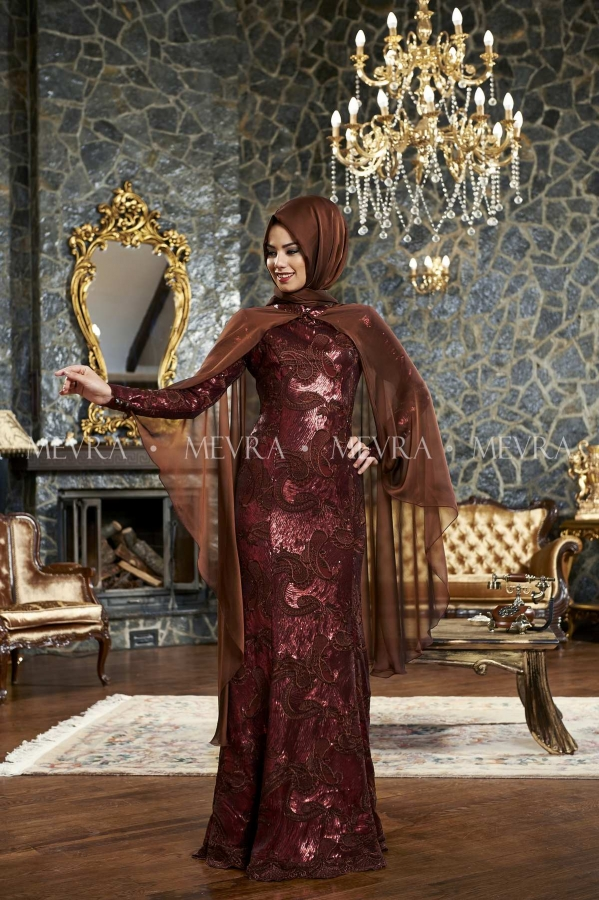 Mevra - Mihrişah Abiye Elbise Bordo
