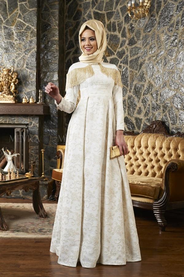 Mevra - Afife Abiye Elbise Ekru