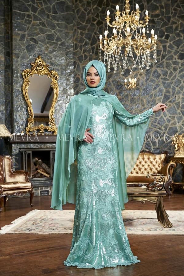 Mevra - Mihrişah Abiye Elbise Mint