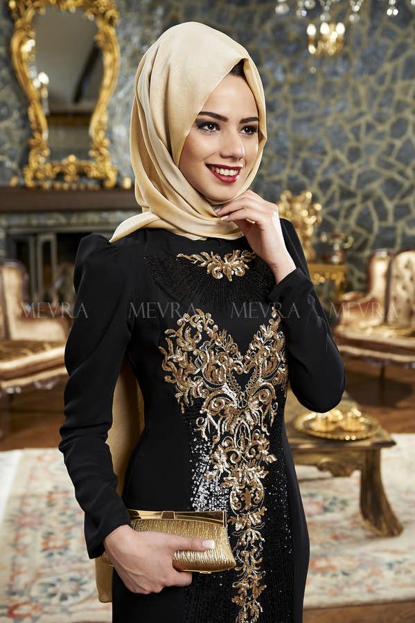 Mevra Abiye - Mısra Abiye Elbise Siyah