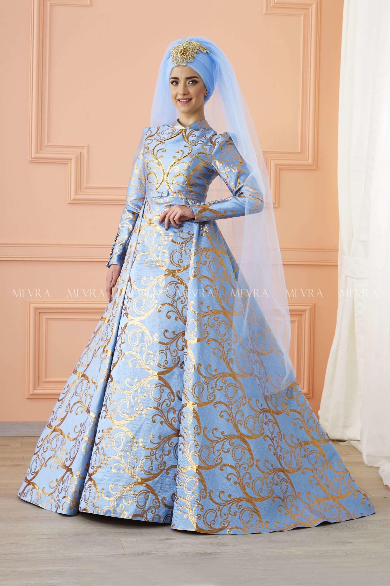 Mevra - Afşar Brokar Abiye Elbise Mavi