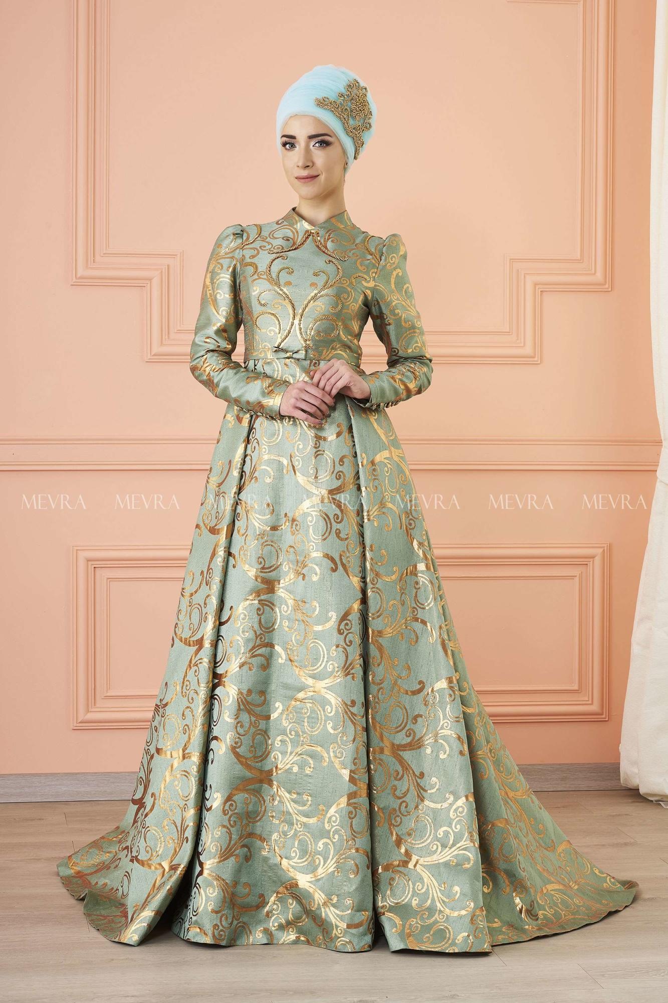 Mevra - Afşar Brokar Abiye Elbise Mint