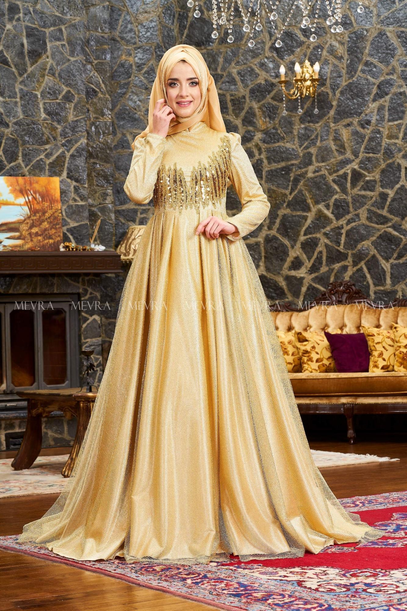 Mevra - Alis Abiye Elbise Gold