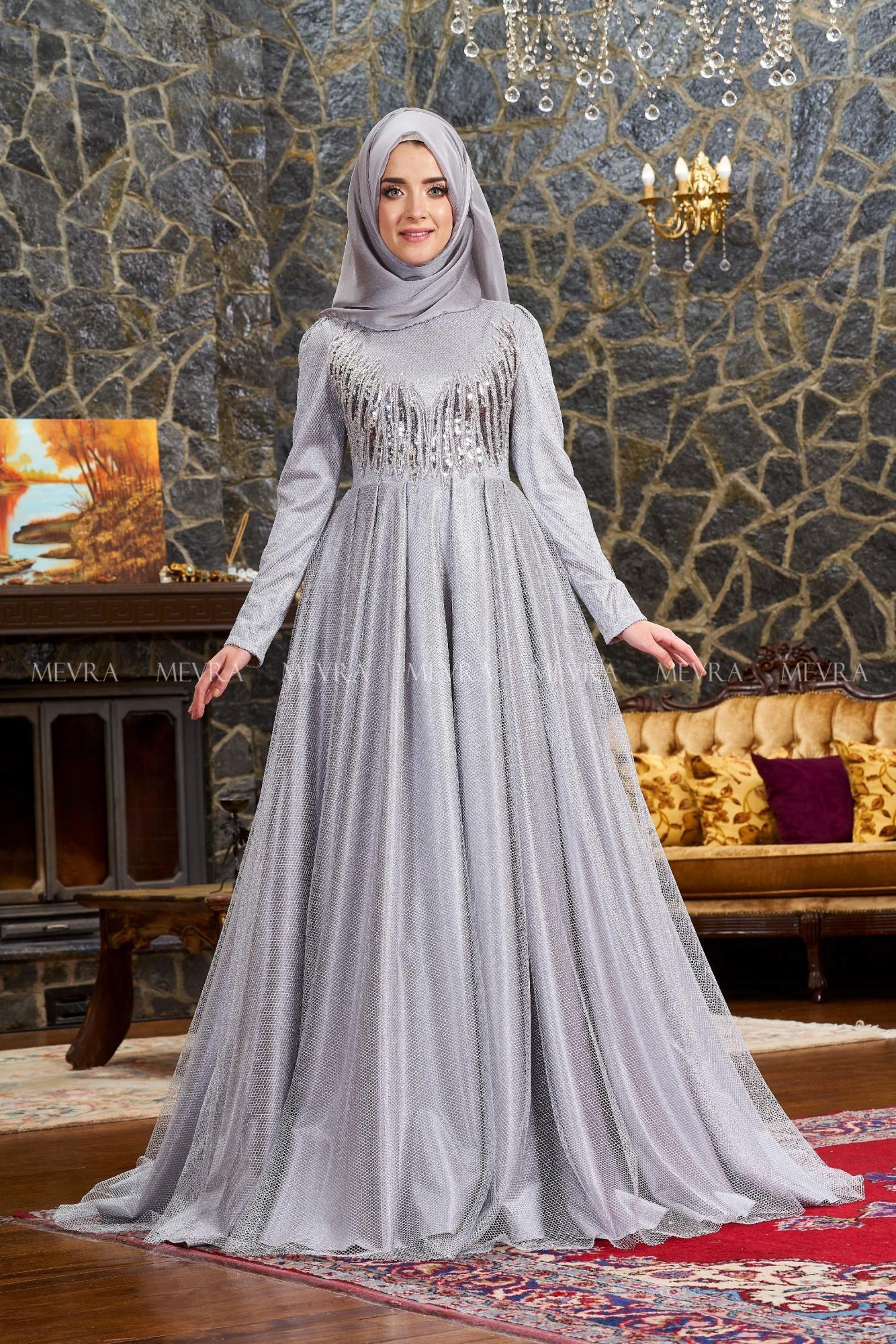 Mevra - Alis Abiye Elbise Gümüş