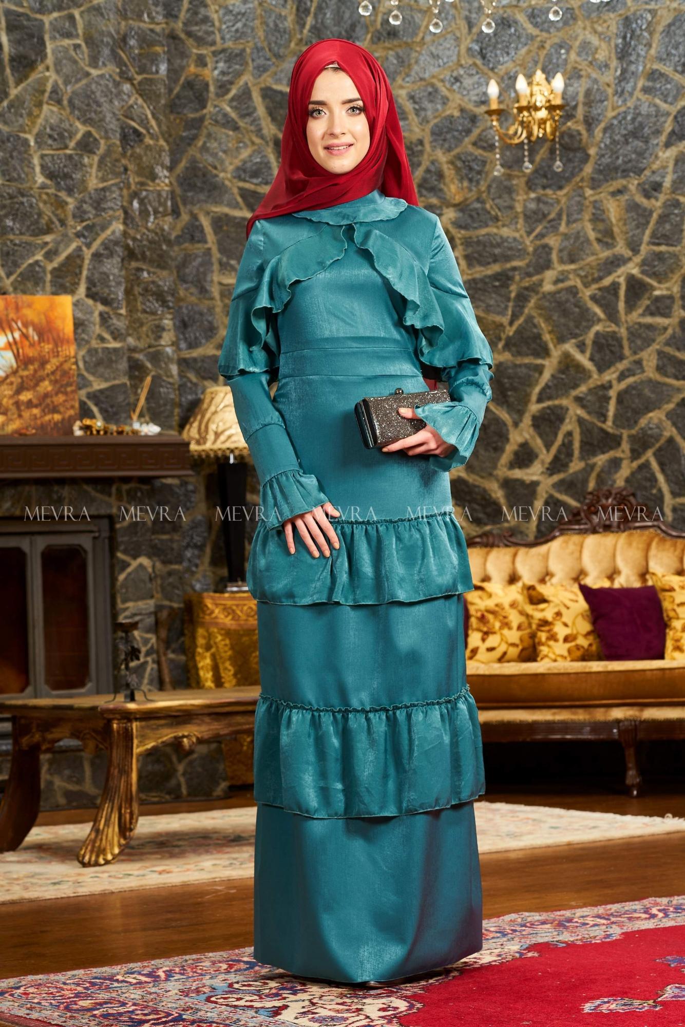 Mevra - Angela Abiye Elbise Petrol