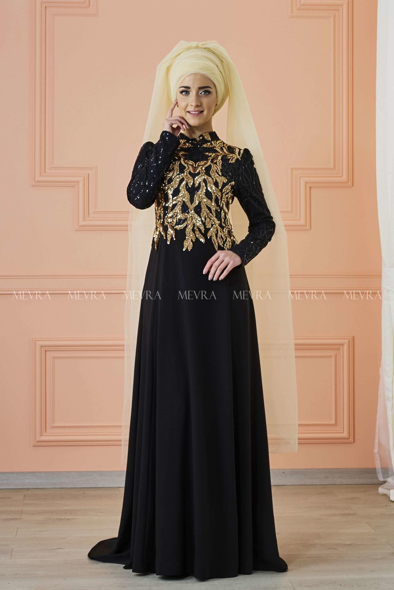 Mevra - Anka Abiye Elbise Siyah Gold