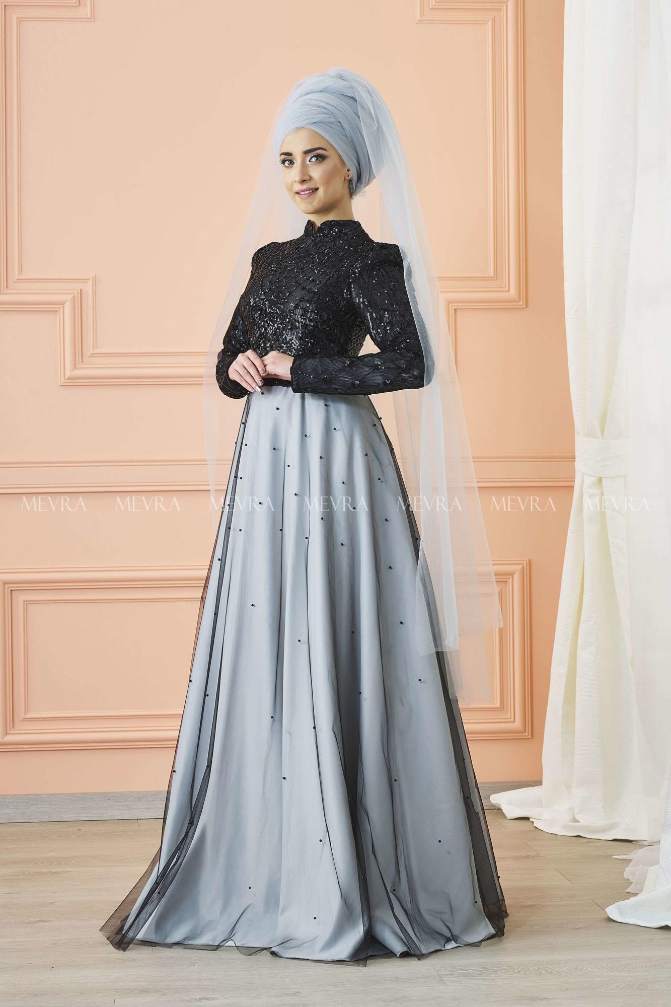 Mevra - Canay Abiye Elbise Siyah Gümüş