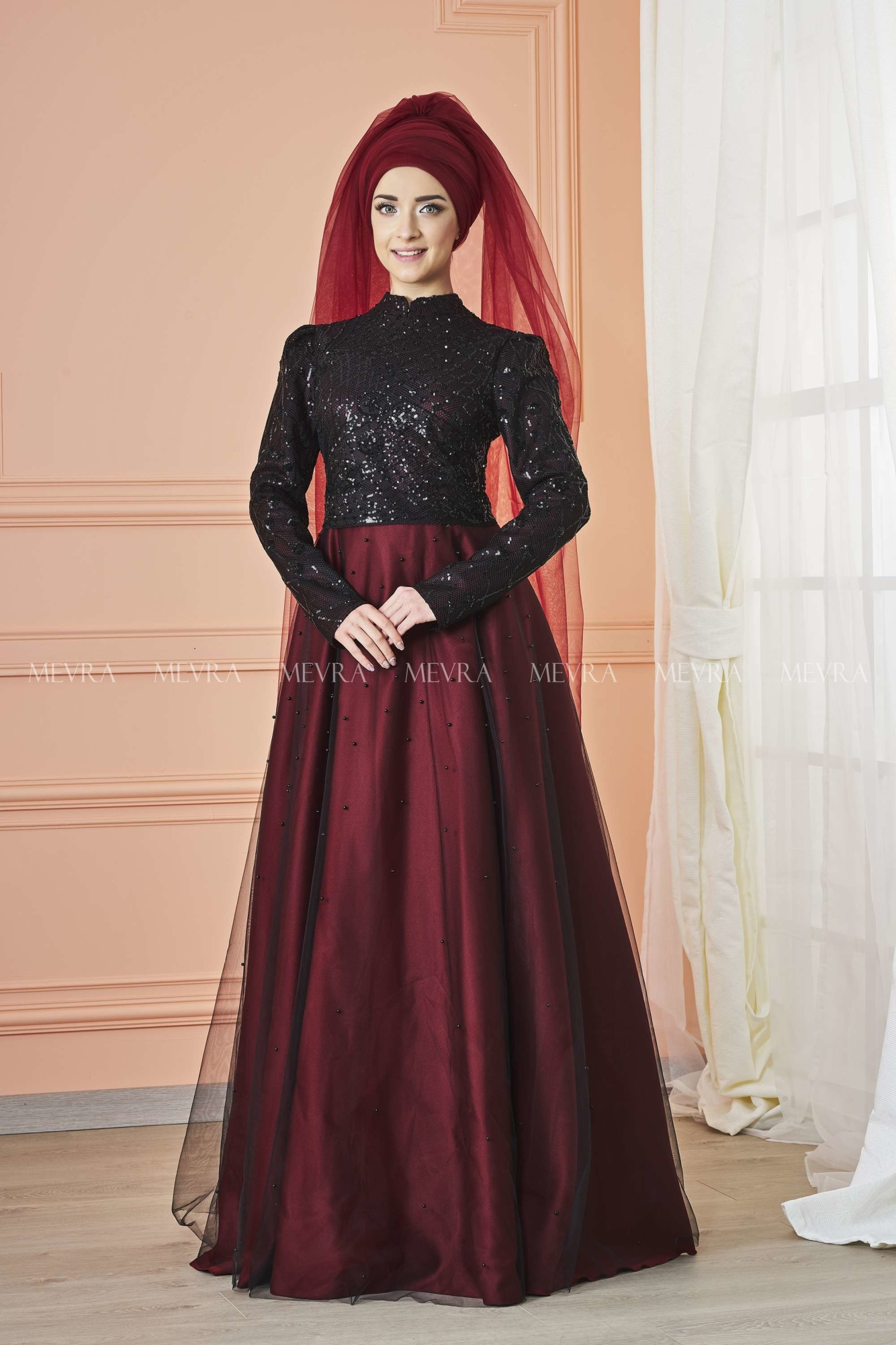 Mevra - Canay Abiye Elbise Siyah Bordo