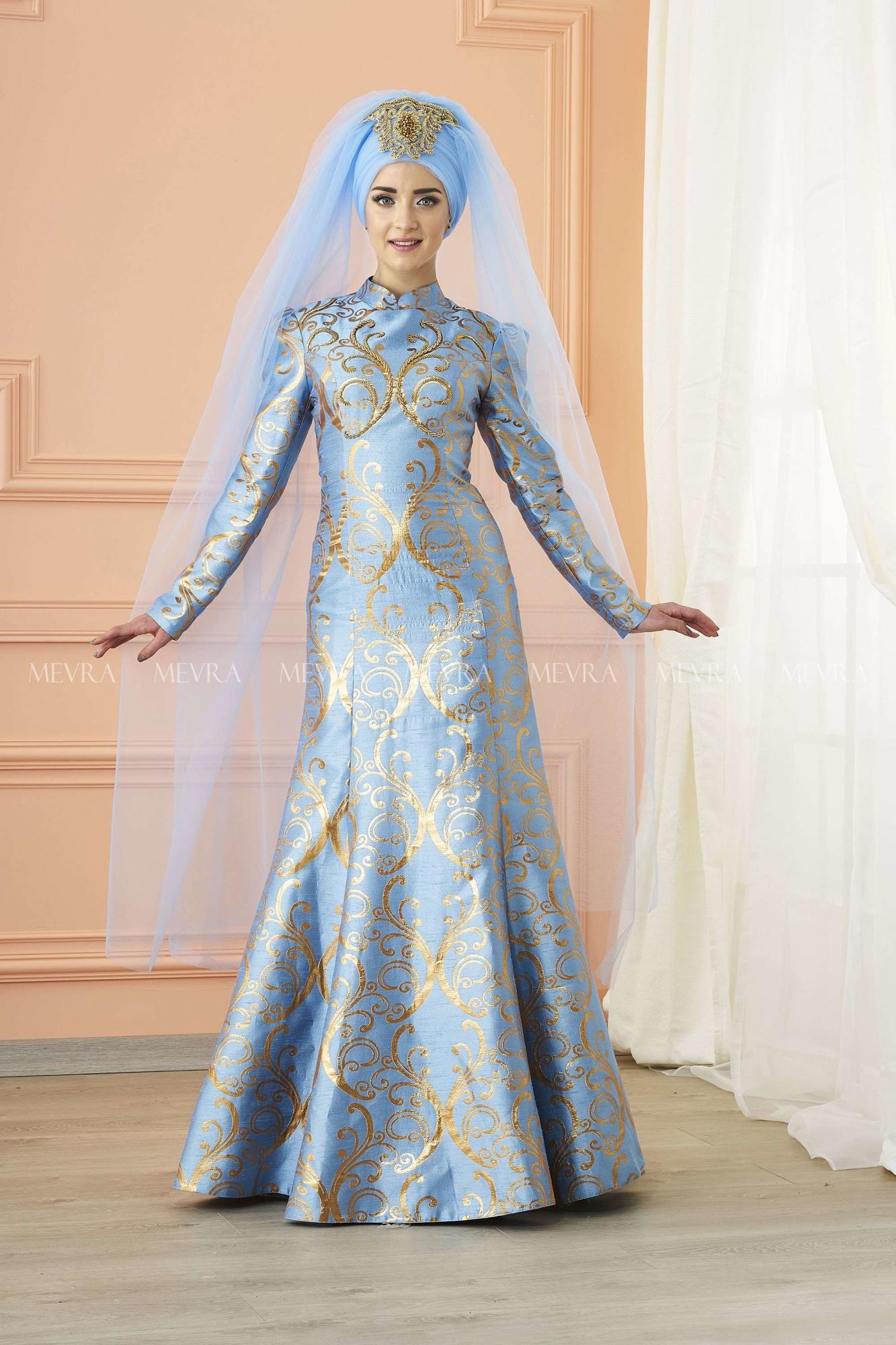 Mevra - Gülce Brokar Abiye Elbise Mavi