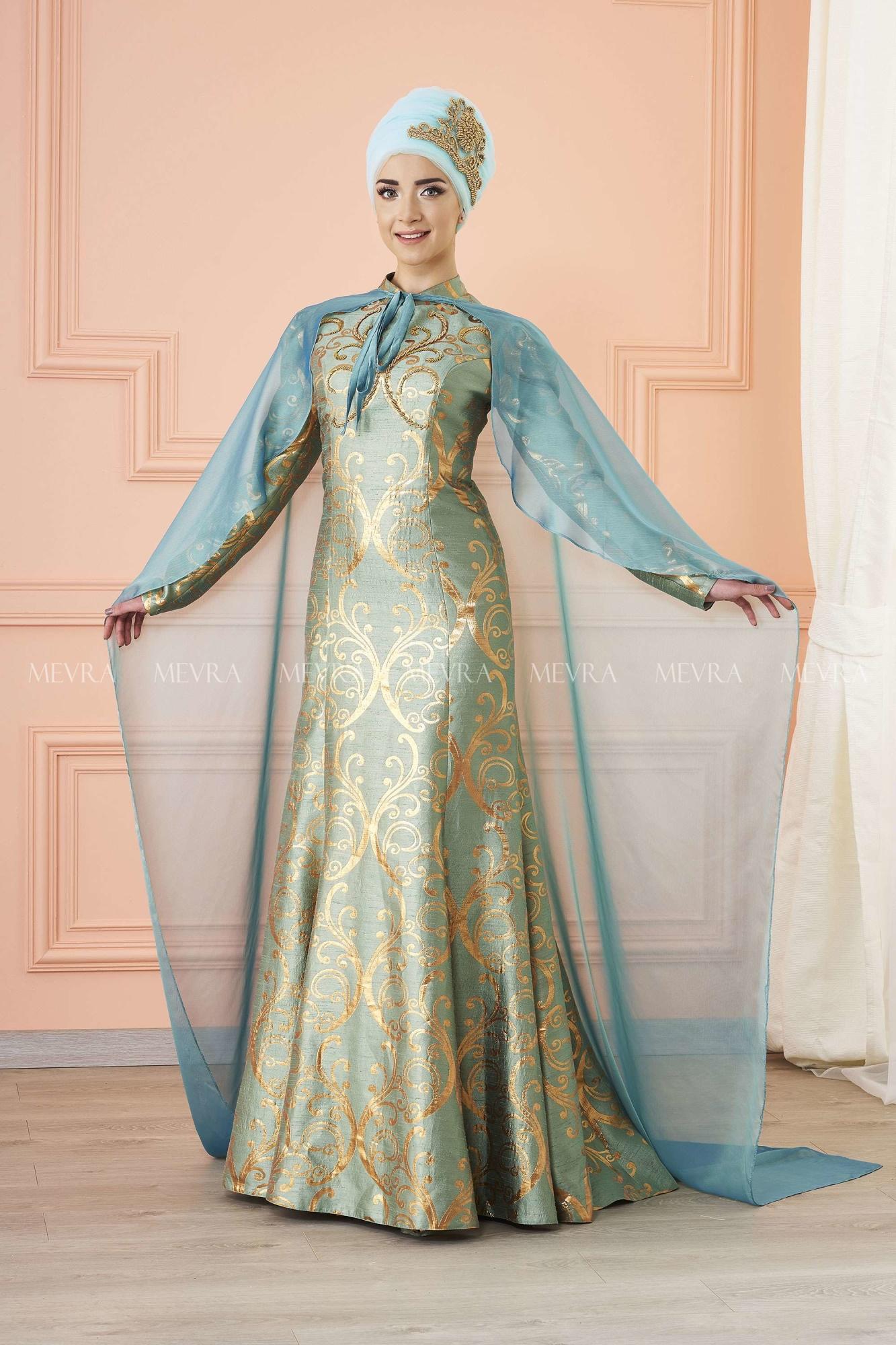 Mevra - Gülce Brokar Abiye Elbise Mint