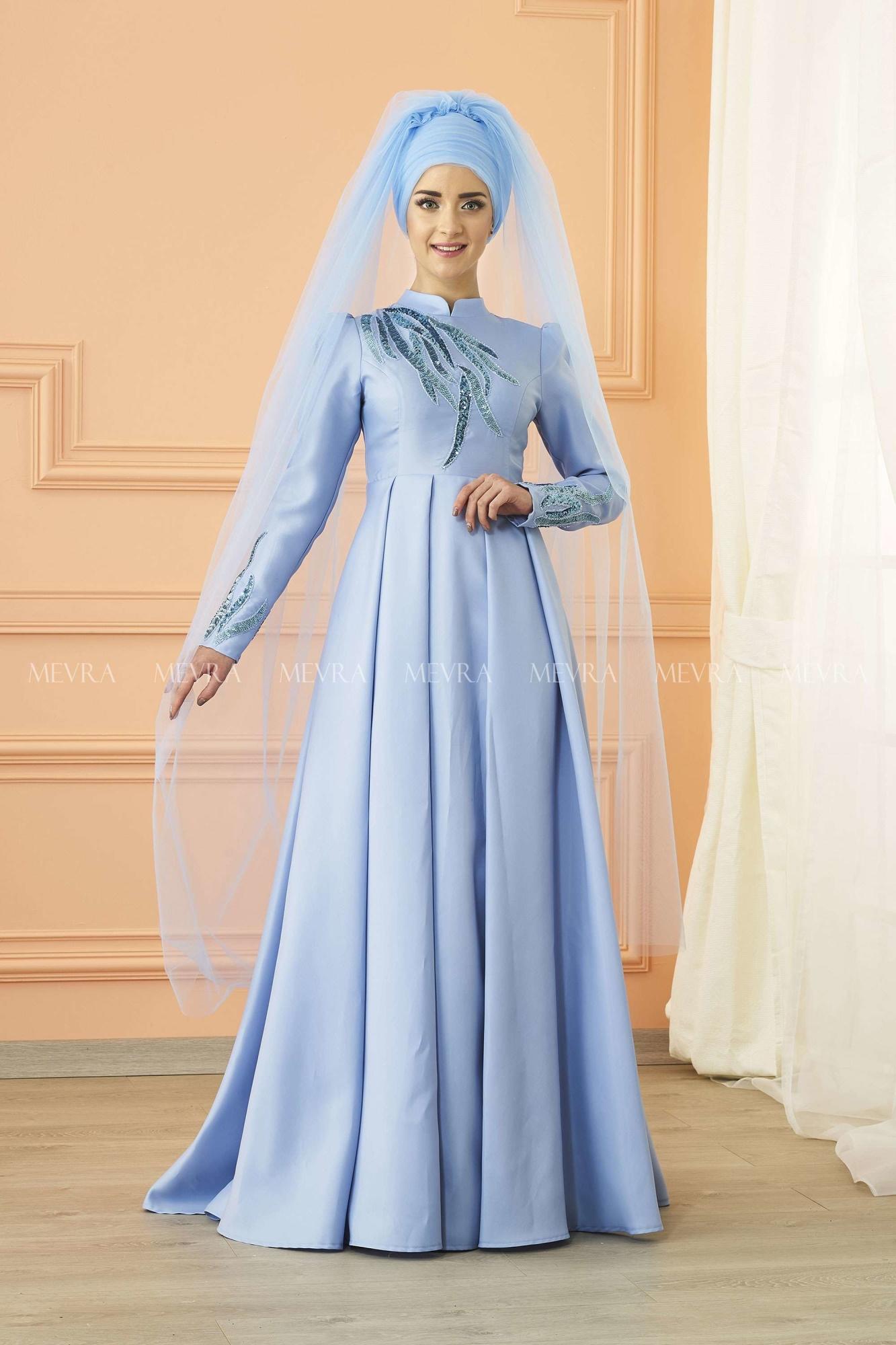 Mevra - Kavin Abiye Elbise Buz Mavisi