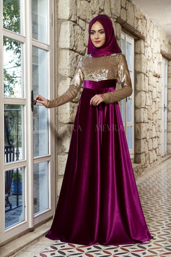 Mevra - Laura Abiye Elbise Fuşya