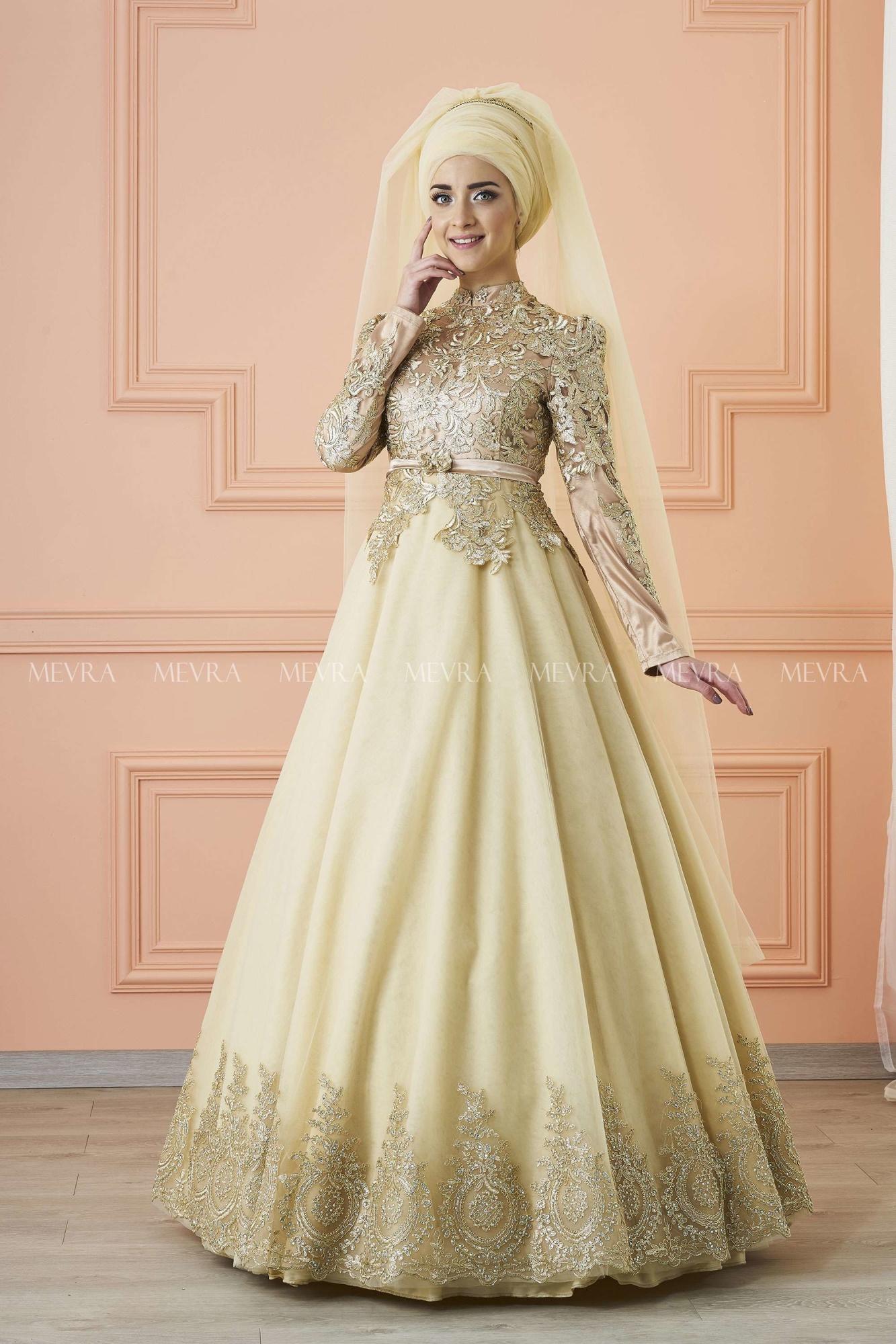 Mevra - Lavin Abiye Elbise Gold