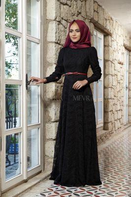 Mevra - Selina Dantel Elbise Siyah