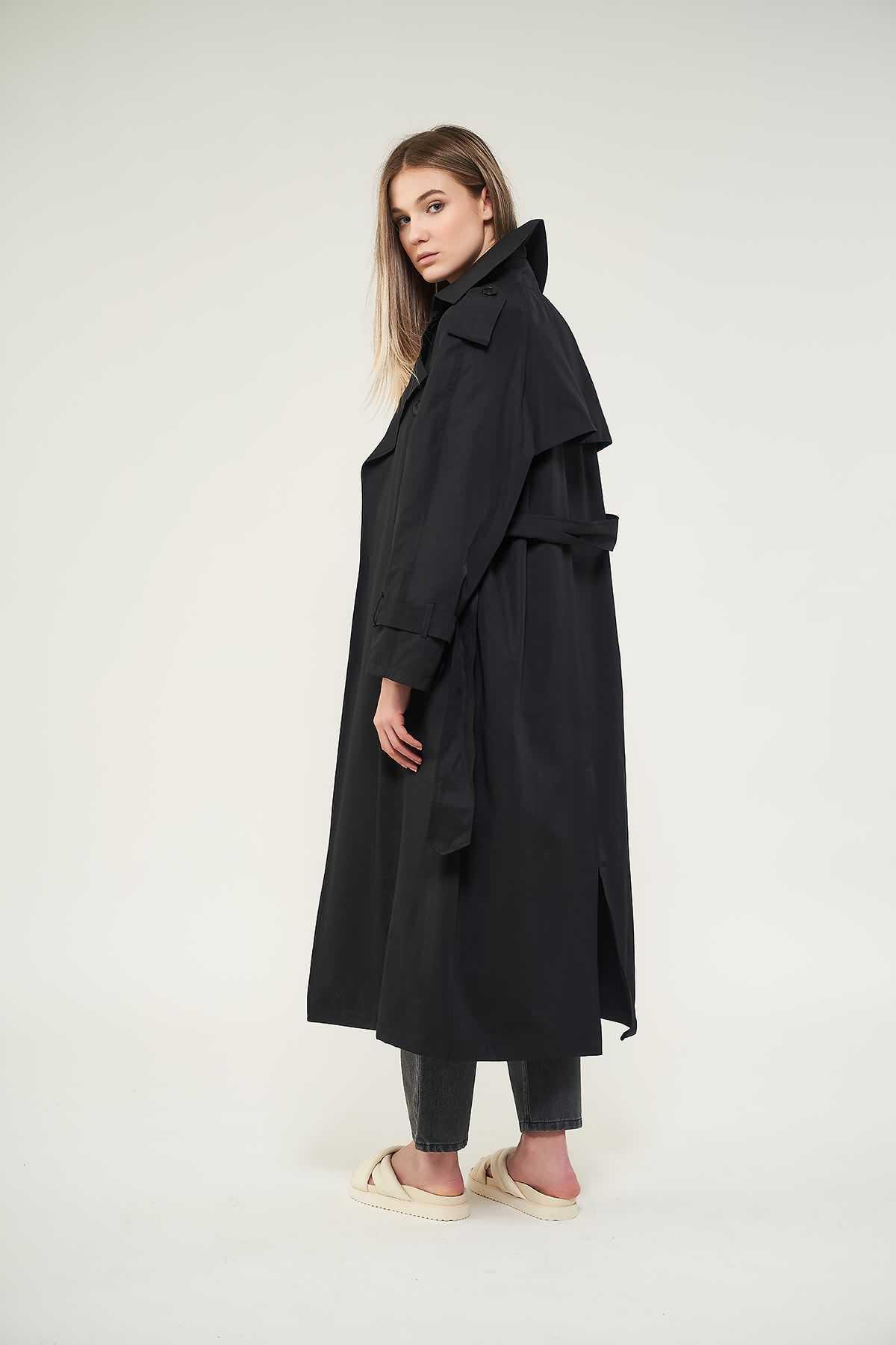 Mevra - Astarlı Trenchcoat Siyah