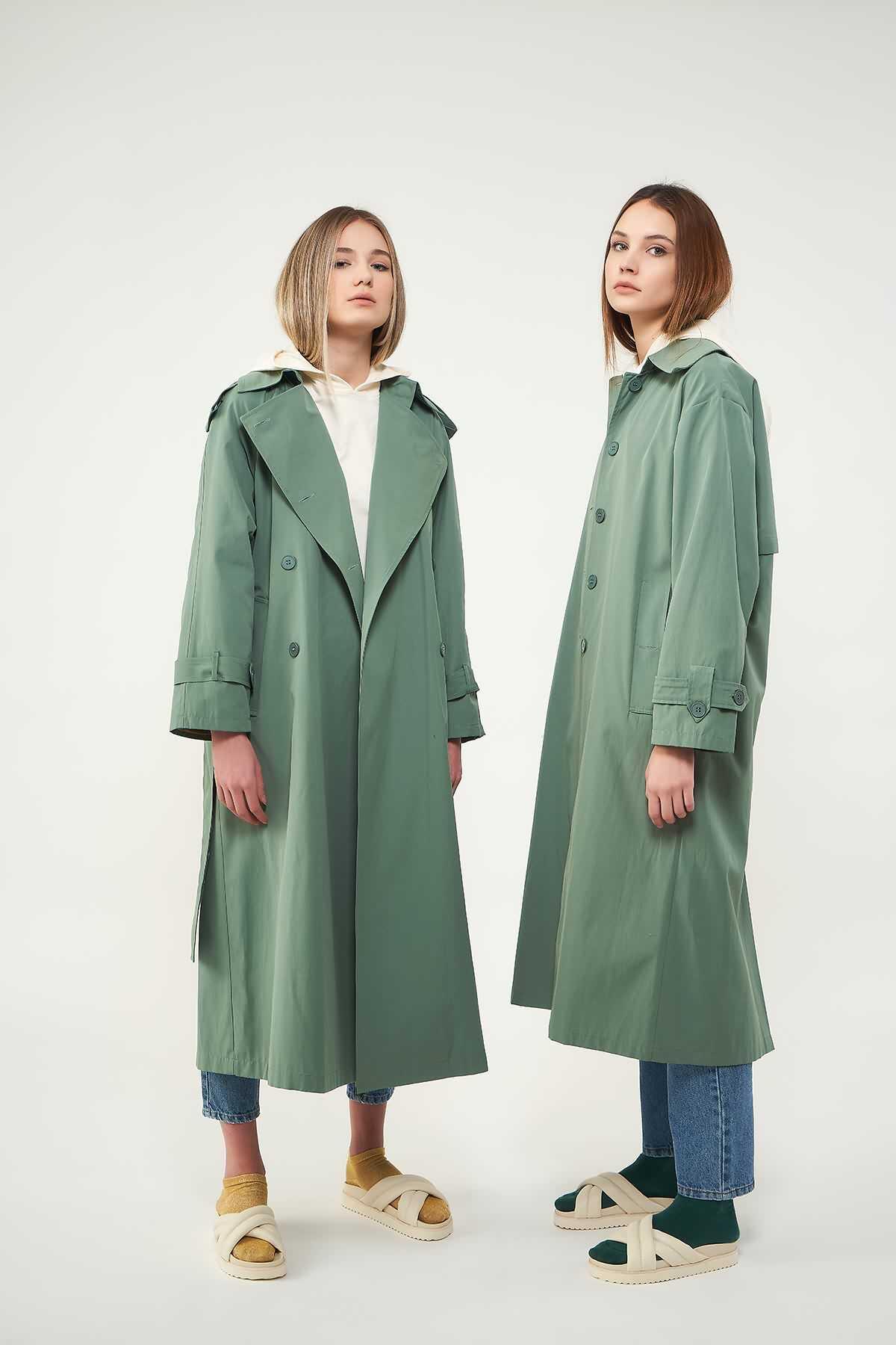 Mevra - Astarlı Trenchcoat Yeşil