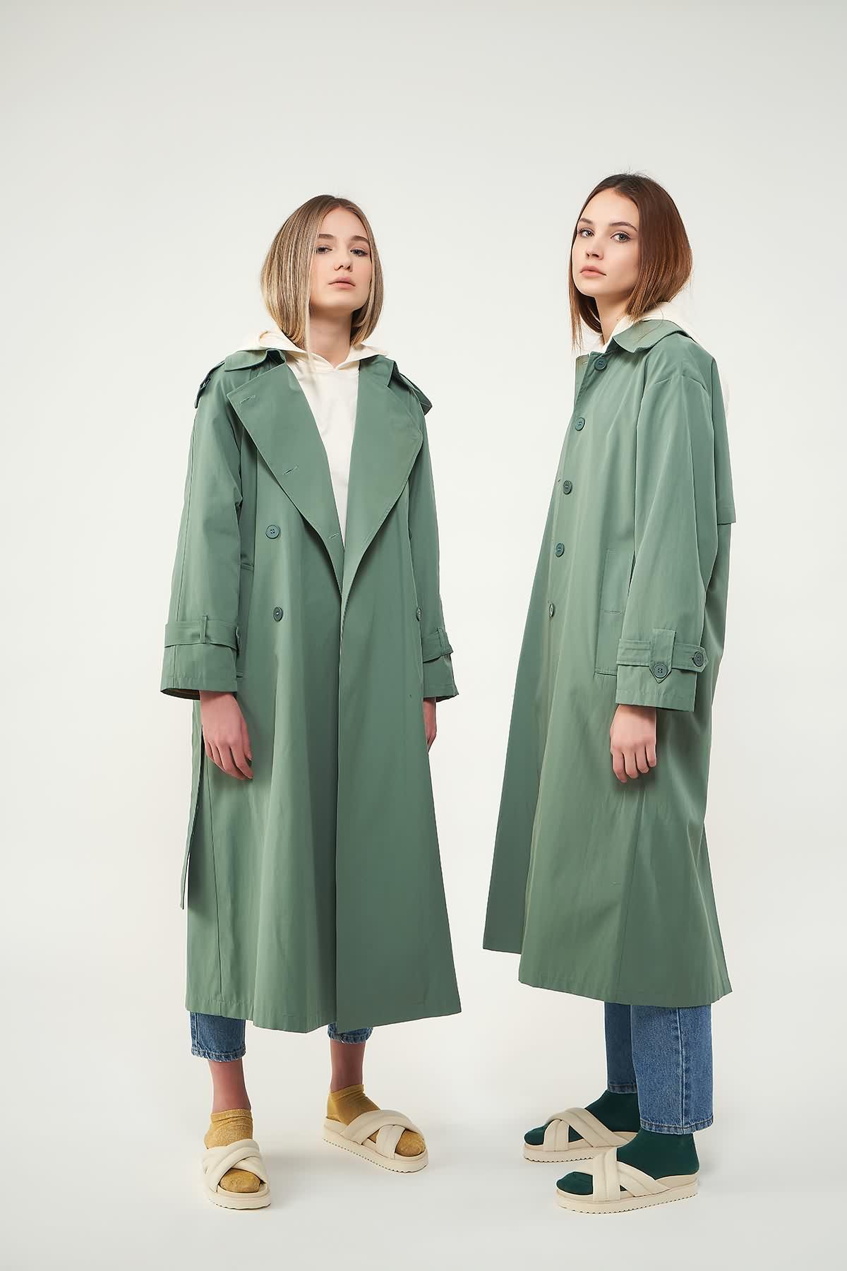 Astarlı Trenchcoat Yeşil - Thumbnail