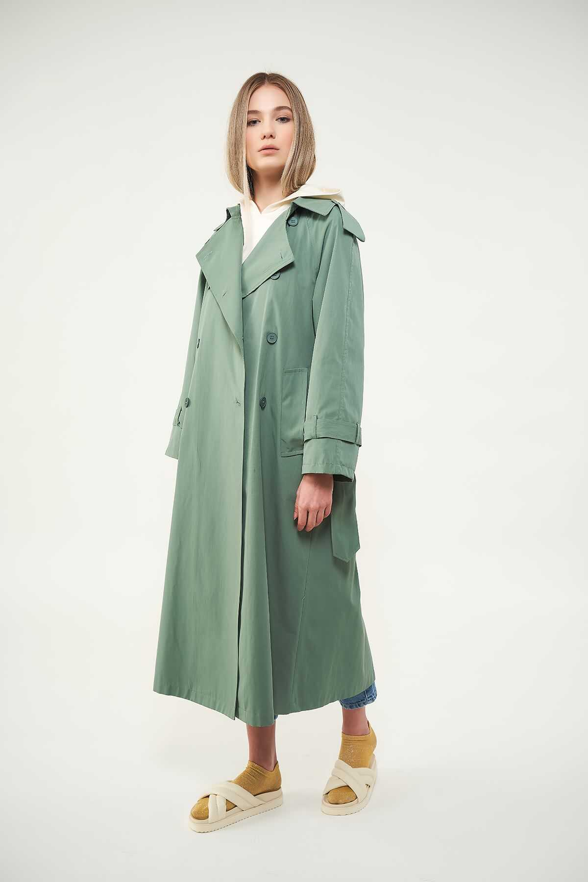 Astarlı Trenchcoat Yeşil