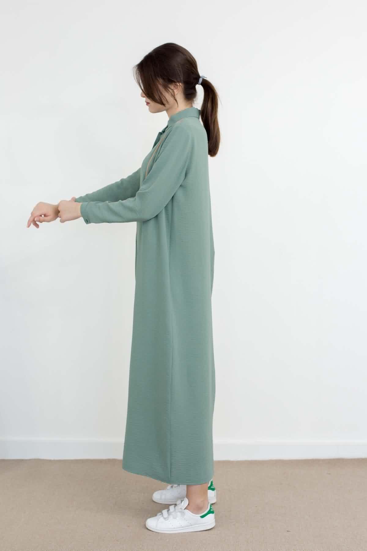 Mevra - Basıc Biyeli Elbise Mint