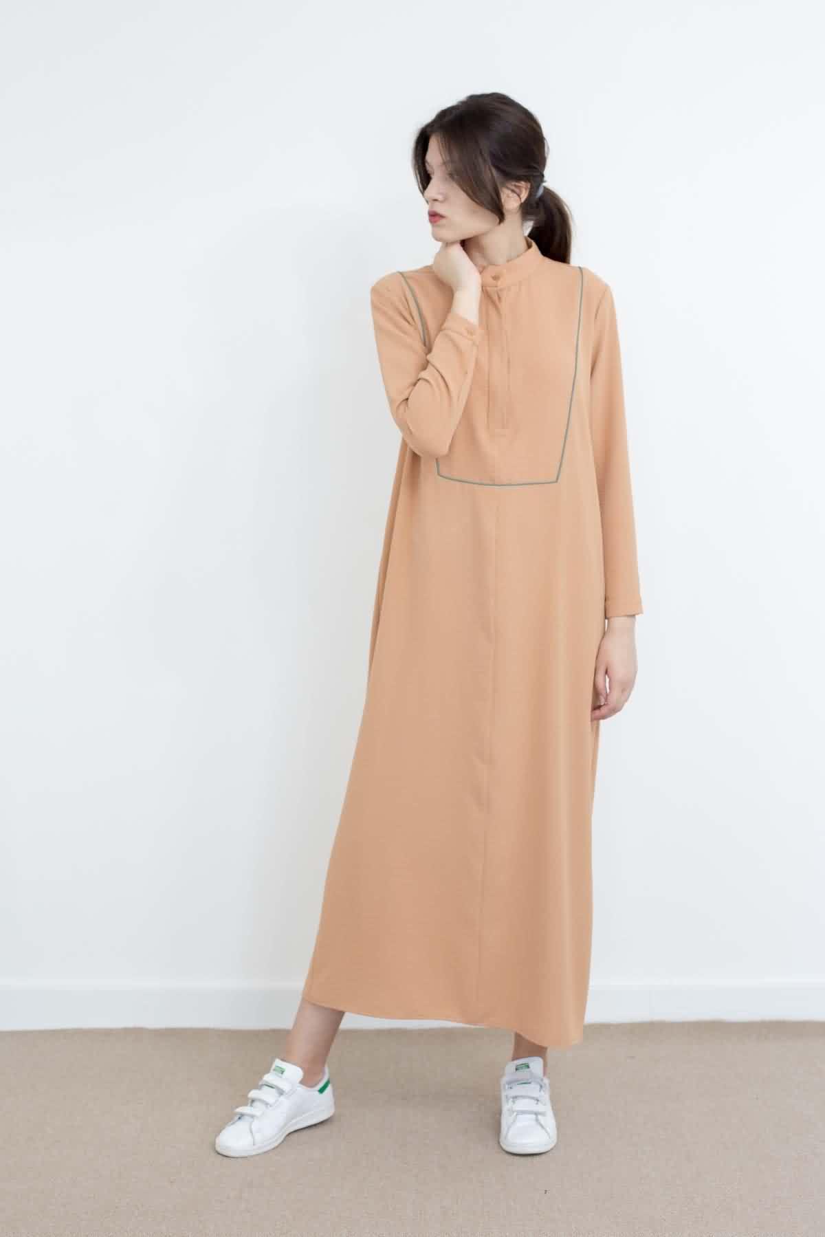 Mevra - Basıc Biyeli Elbise Somon