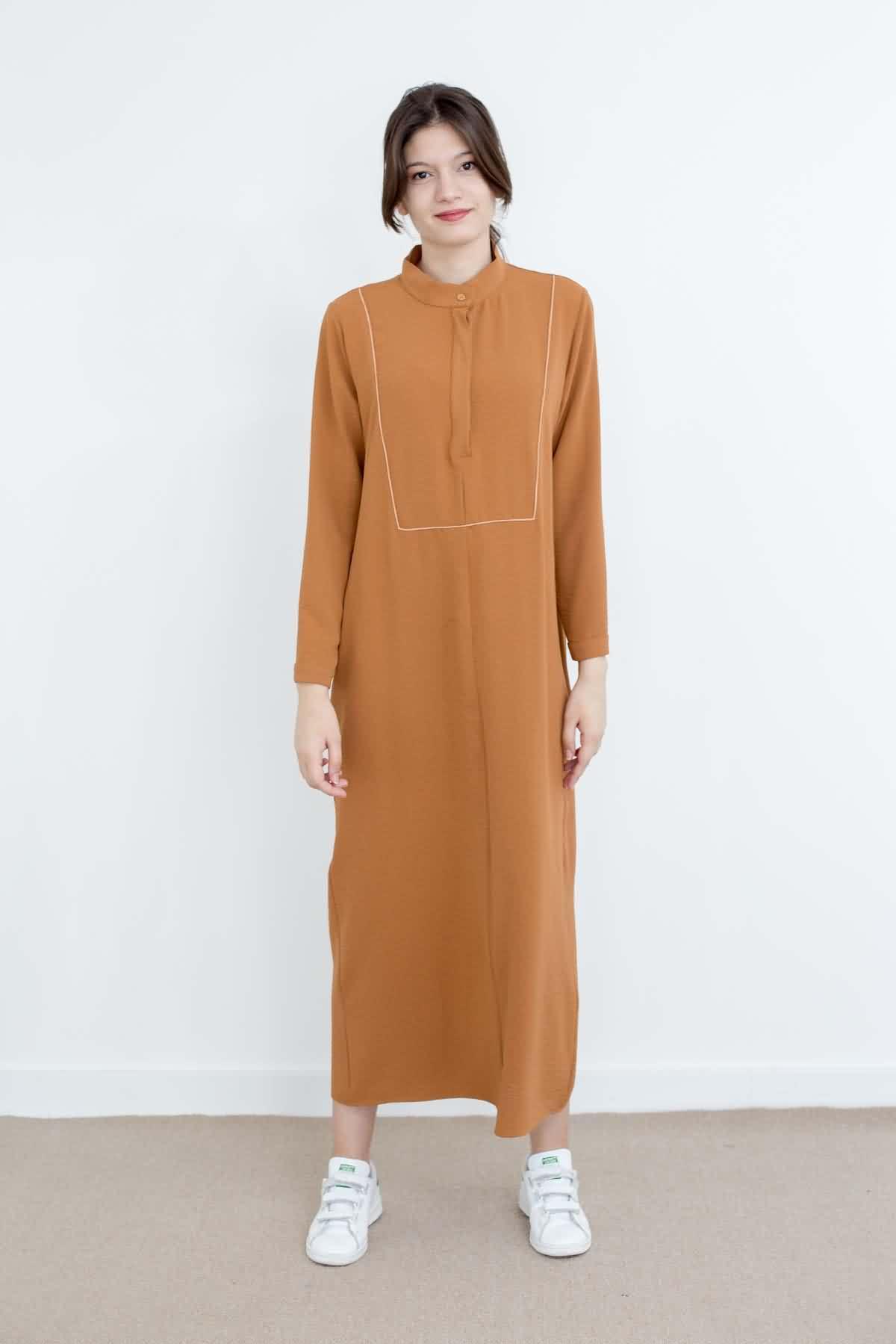 Mevra - Basıc Biyeli Elbise Toffee