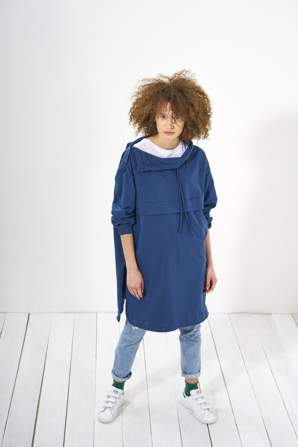 Mevra - Beli Sweatshirt Uzun