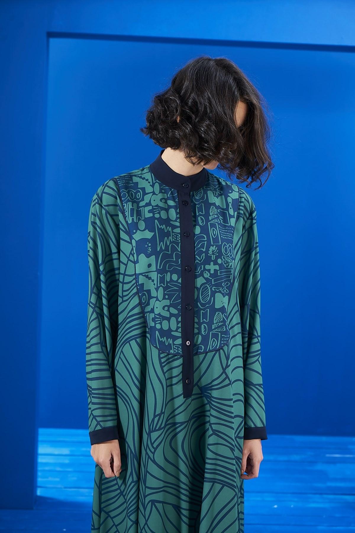 Mevra - Biyeli Elbise İki Desen Laci-Yeşil