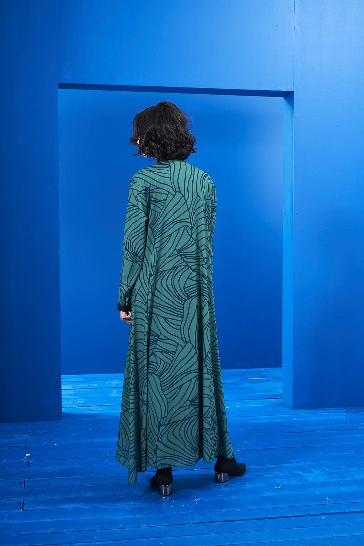 Biyeli Elbise İki Desen Laci-Yeşil