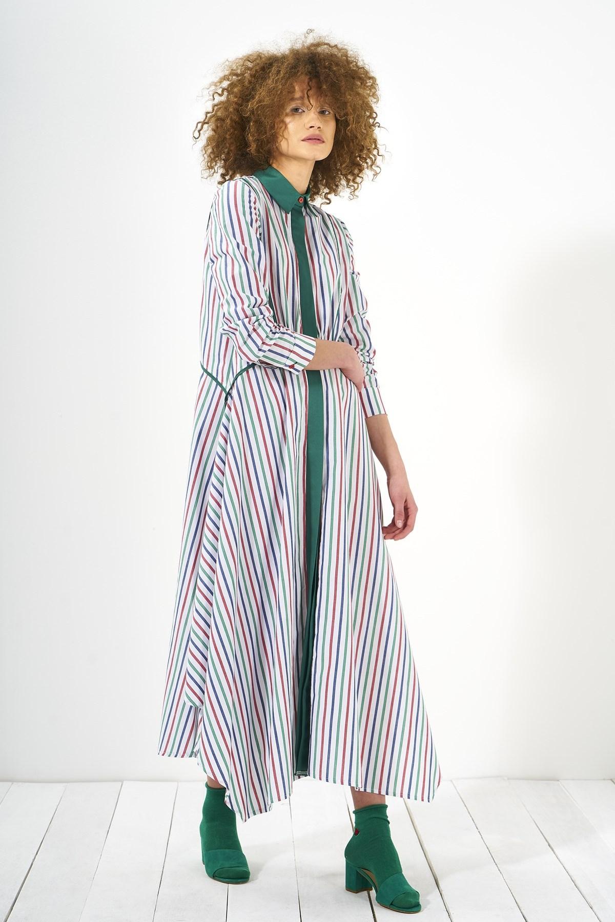 Mevra - Biyeli Elbise Renkli Çizgili