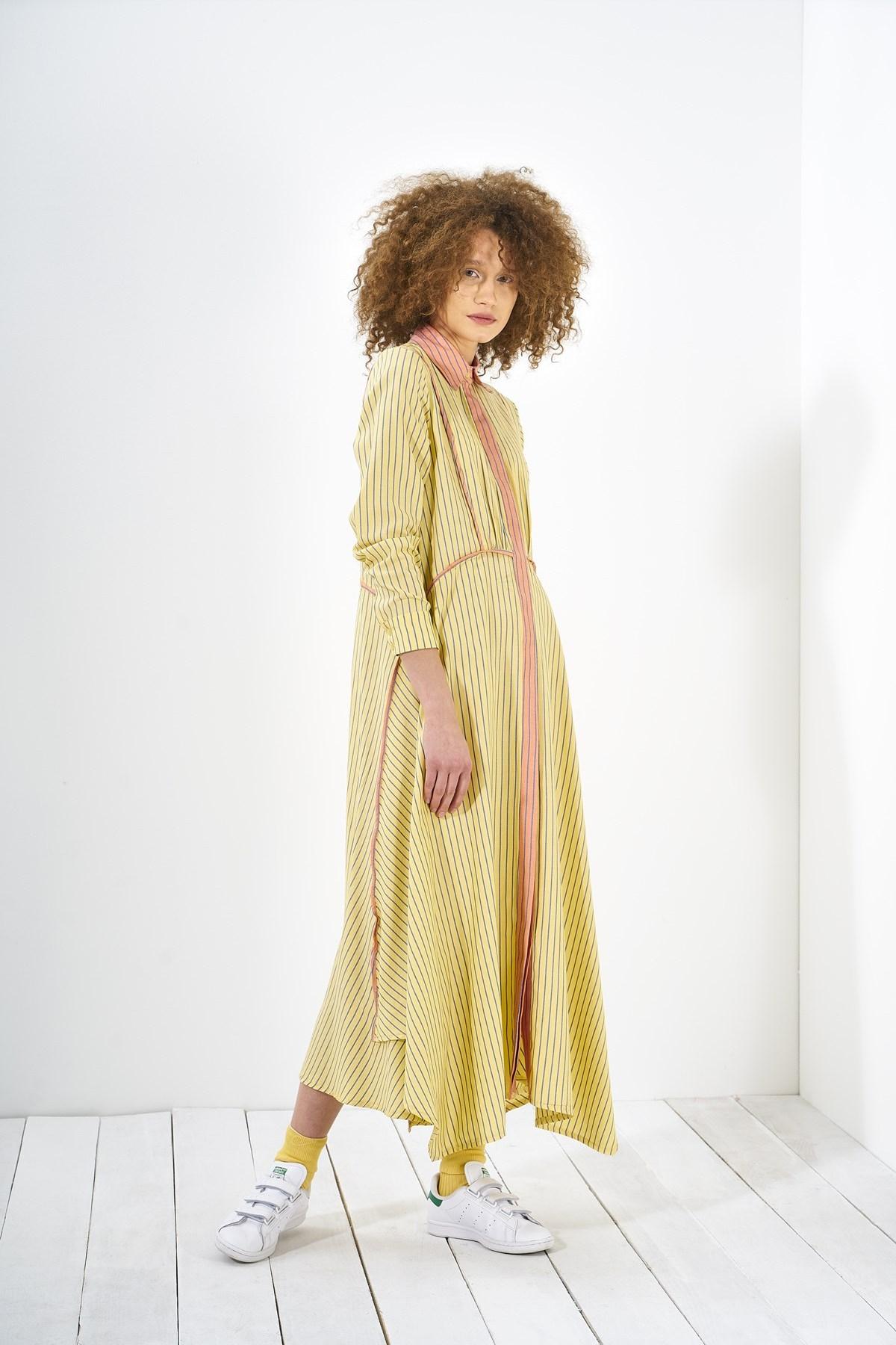 Mevra - Biyeli Elbise Sarı