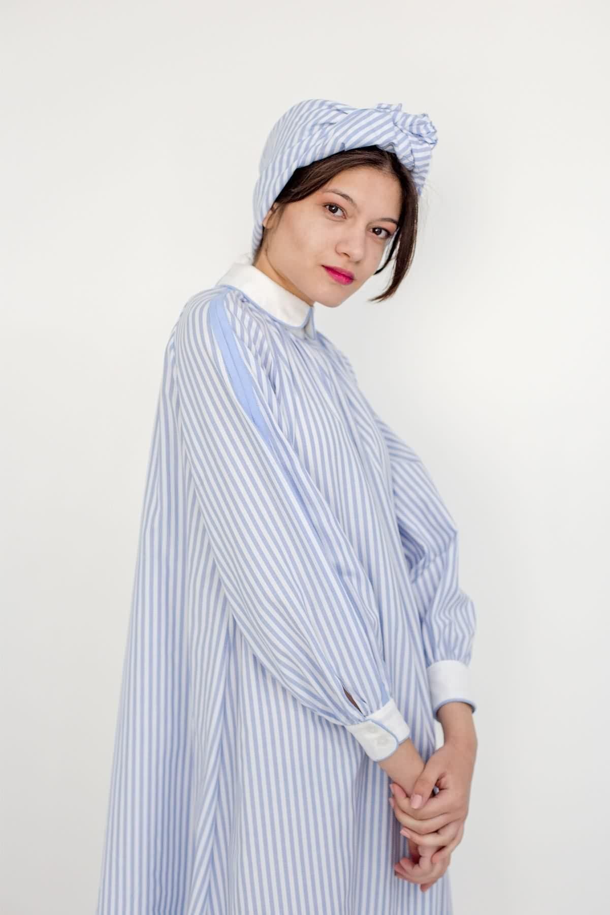 Mevra - Biyeli Poplin Çizgili Elbise Açık Mavi
