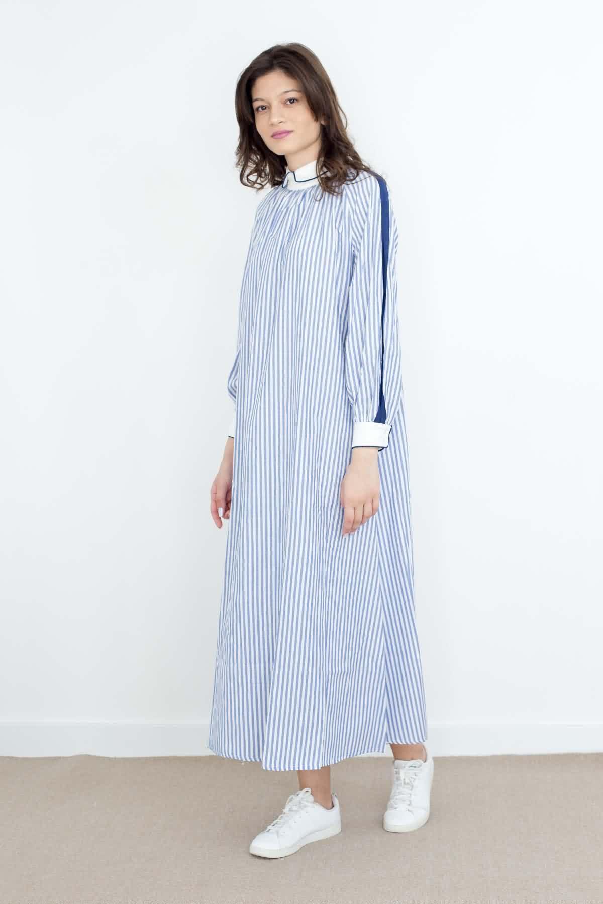 Mevra - Biyeli Poplin Çizgili Elbise Koyu Lacivert
