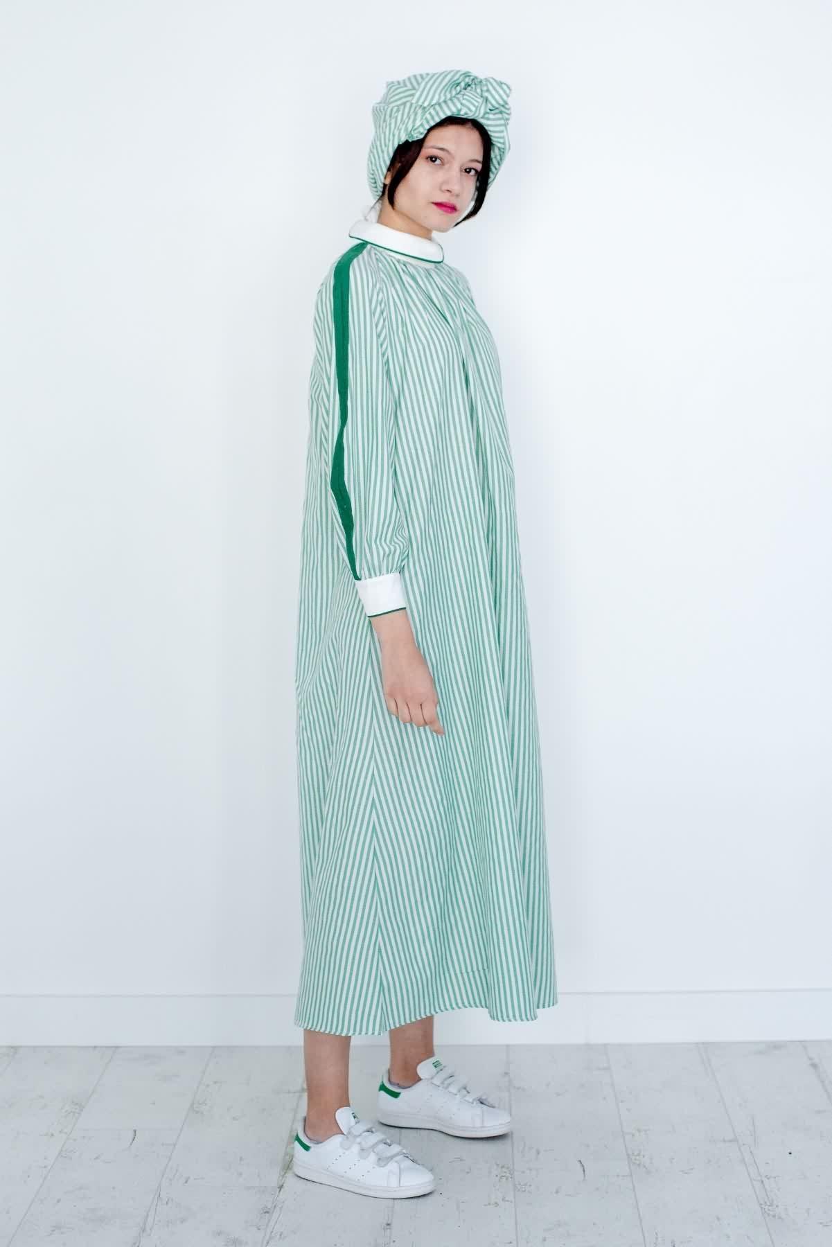 Mevra - Biyeli Poplin Çizgili Elbise Yeşil