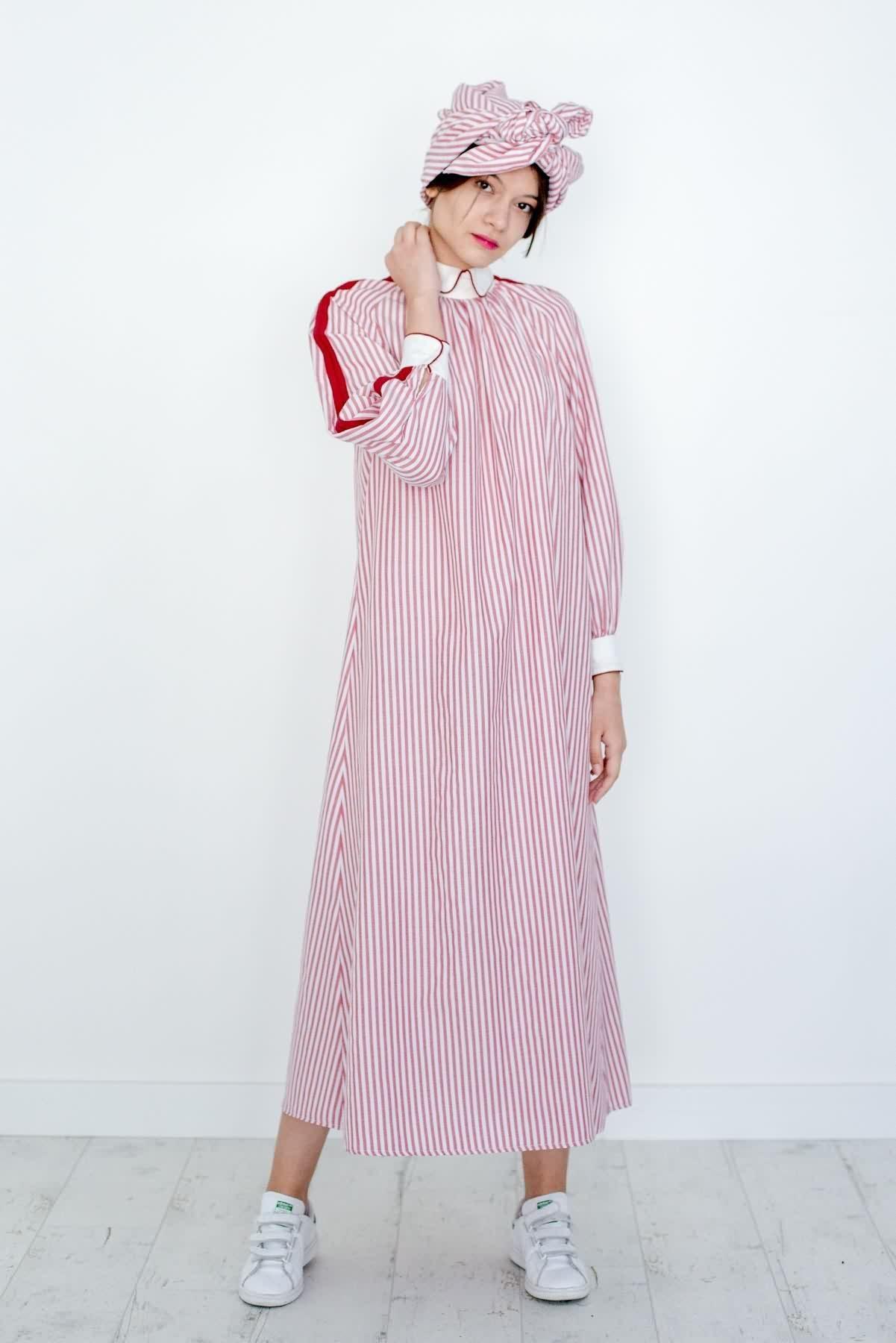 Mevra - Biyeli Poplin Çizgili Elbise Kırmızı