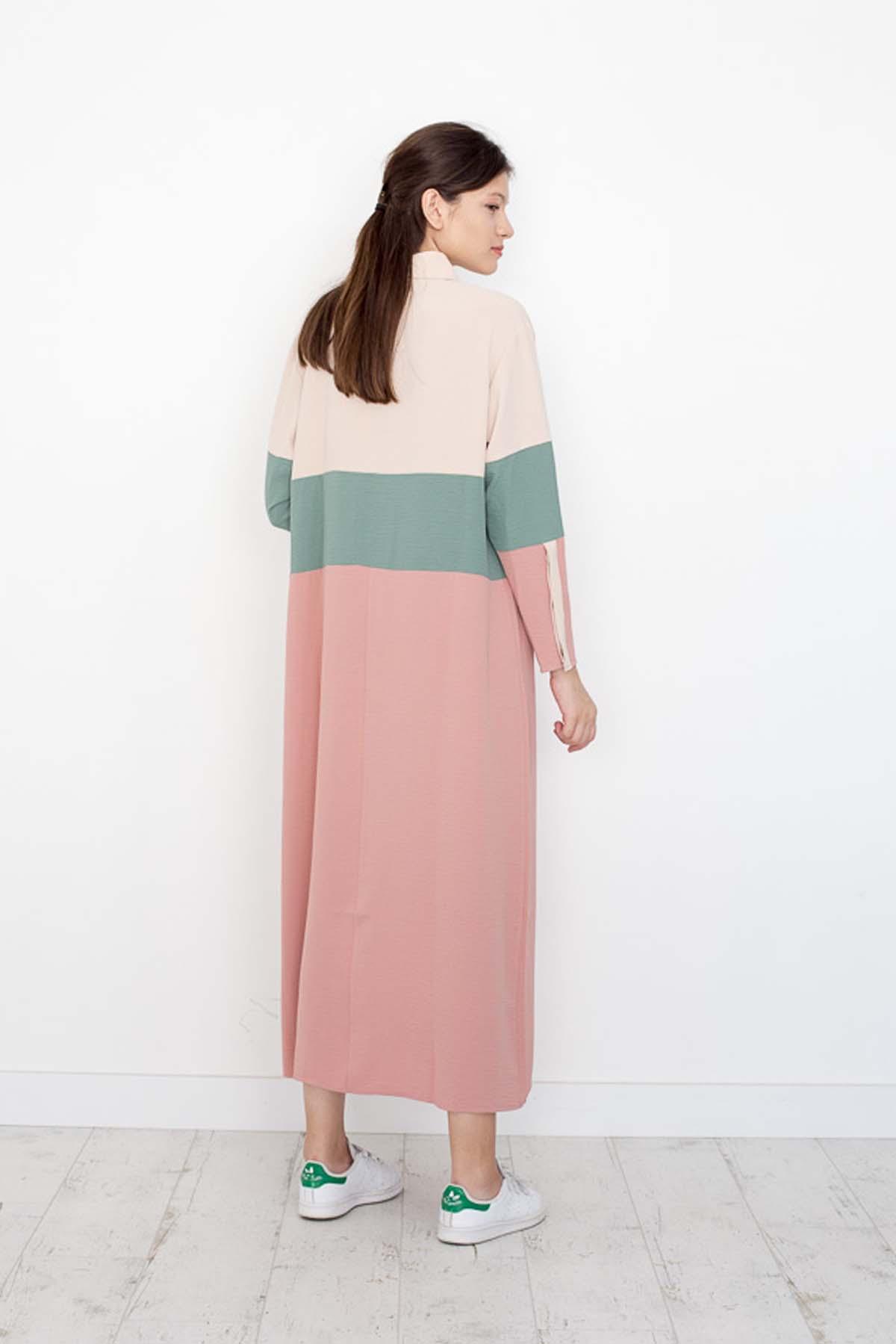 Mevra - Blok Elbise Bej Mint Pudra
