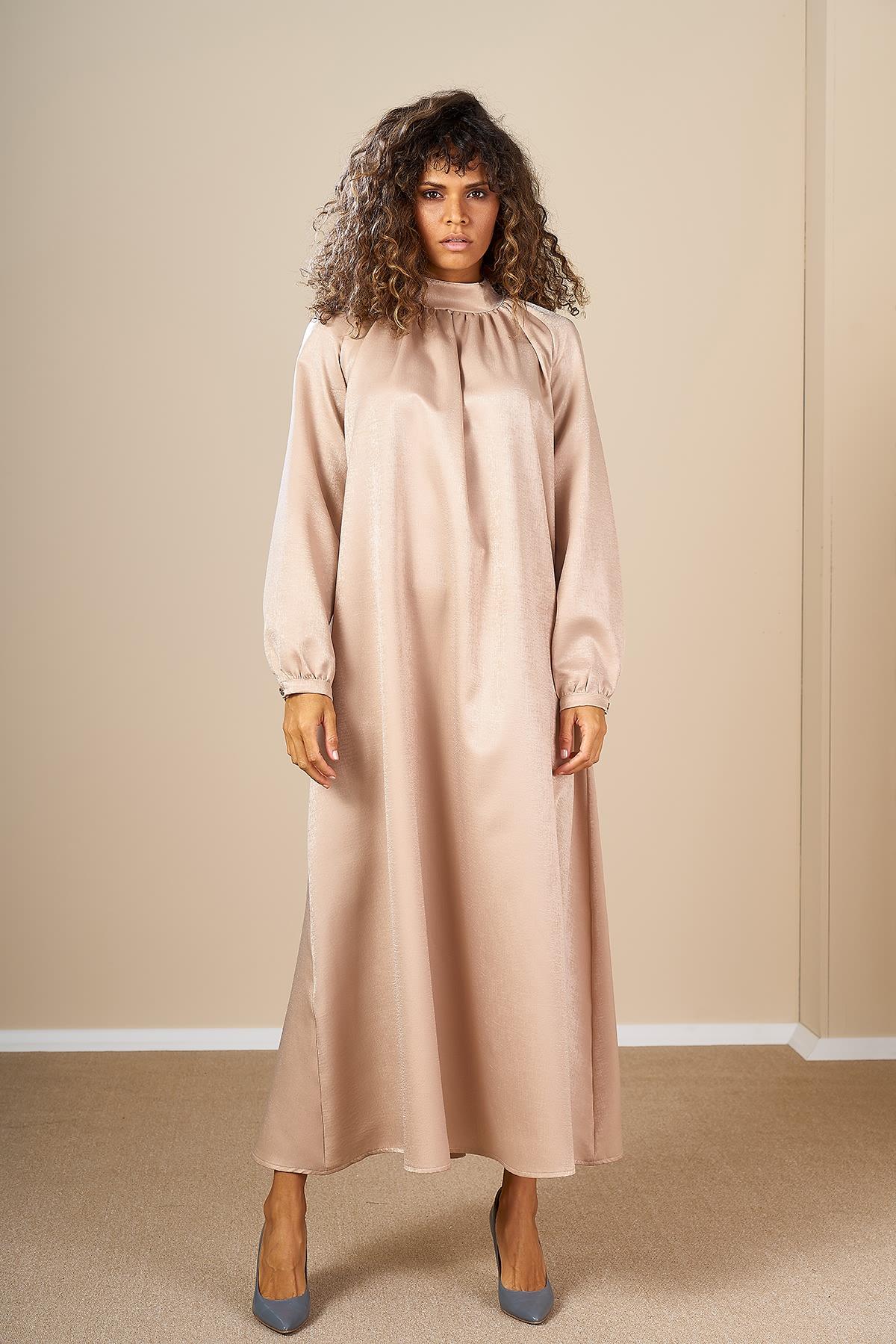 Mevra - Büzgülü Elbise Bej
