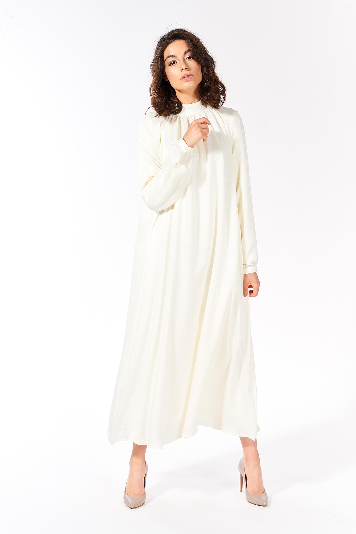 Mevra - Büzgülü Elbise Ekru