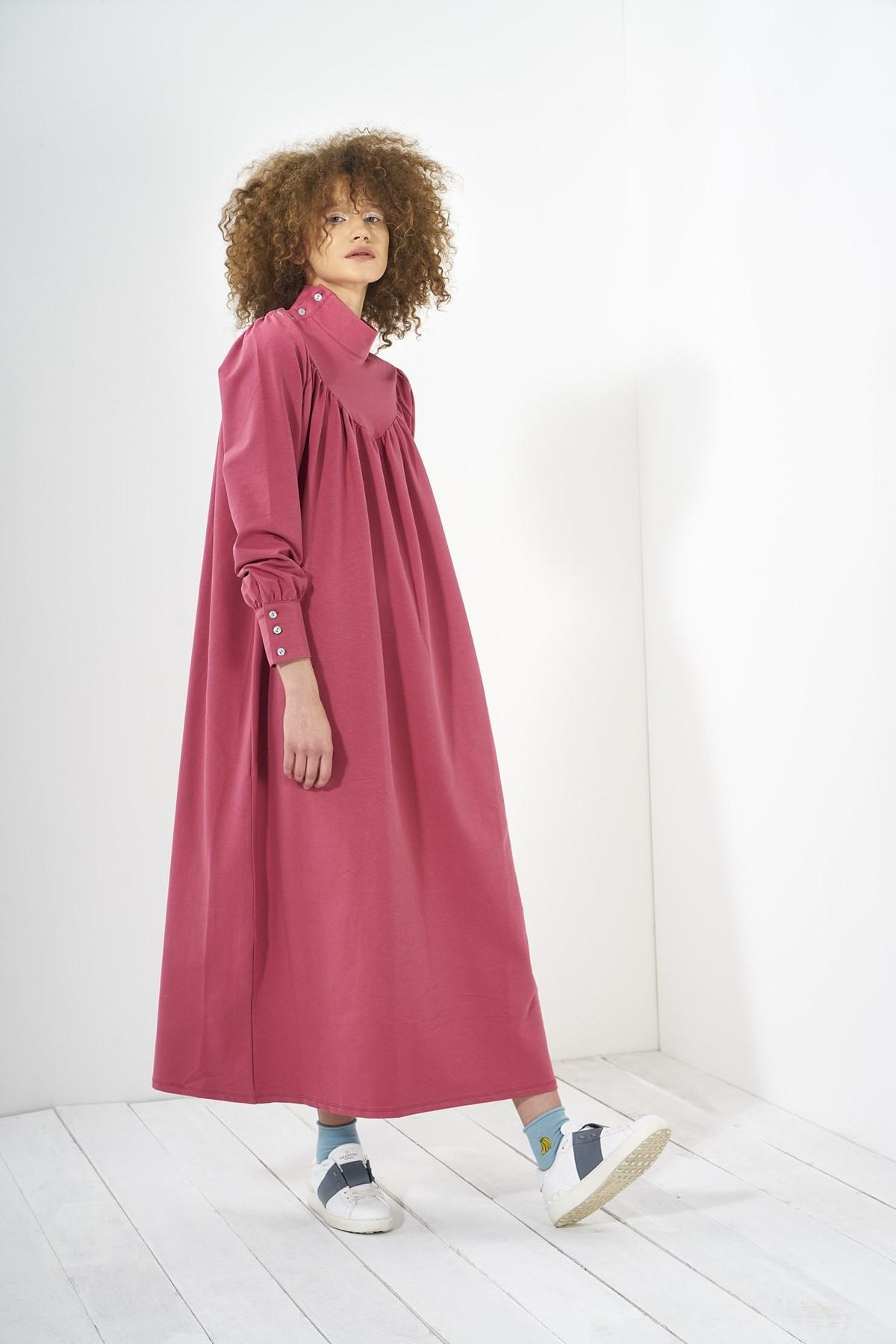 Mevra - Büzgülü Elbise Gül Kurusu
