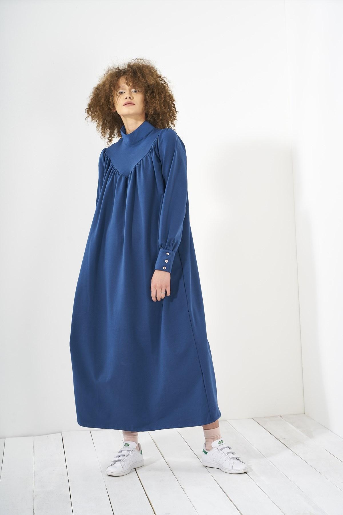 Mevra - Büzgülü Elbise İndigo