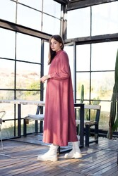 Büzgülü Elbise Kırmızı - Thumbnail