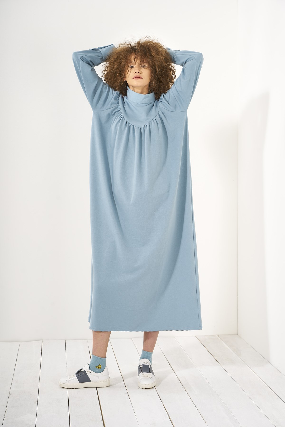 Mevra - Büzgülü Elbise Mavi