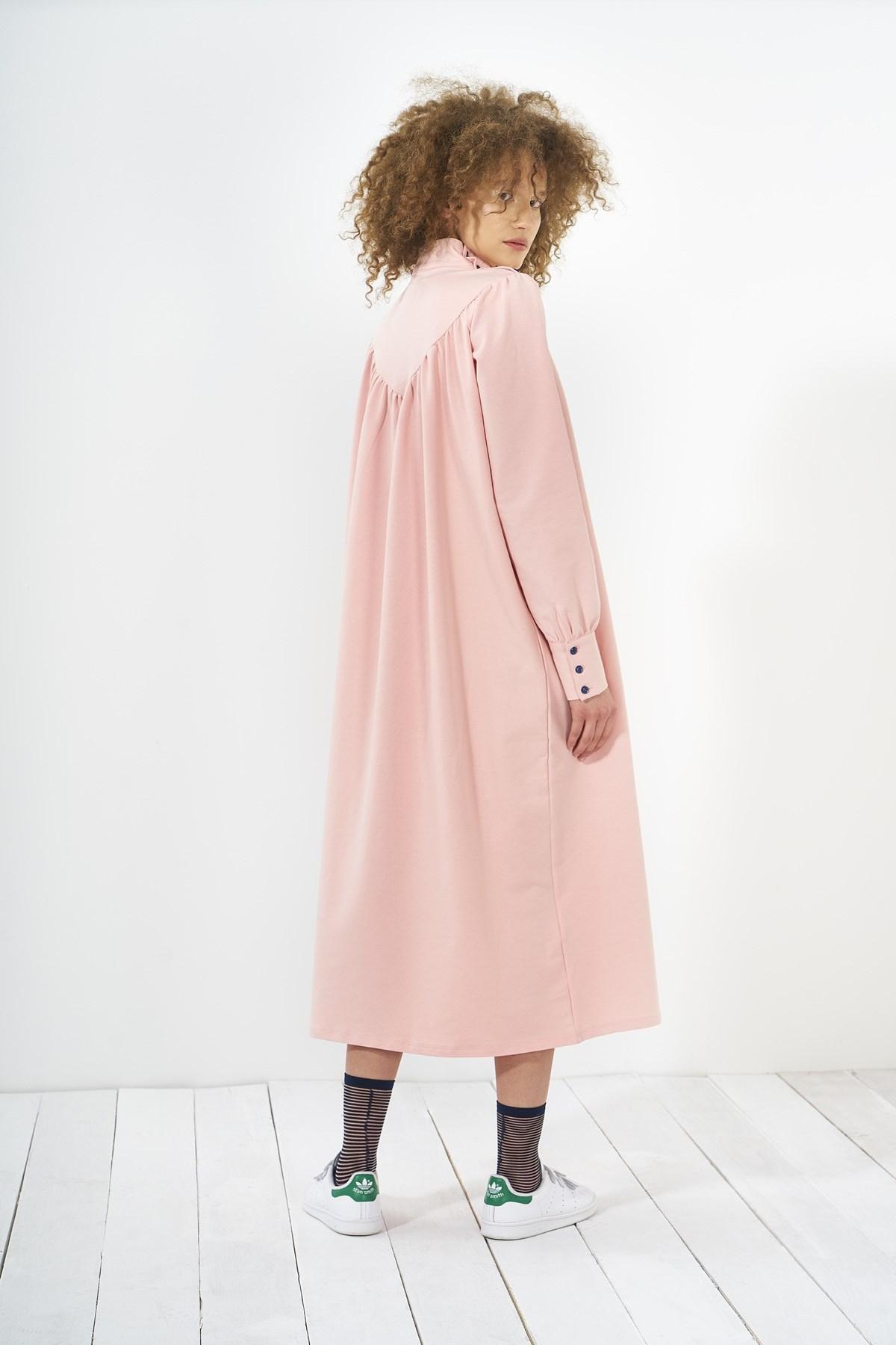 Mevra - Büzgülü Elbise Pudra