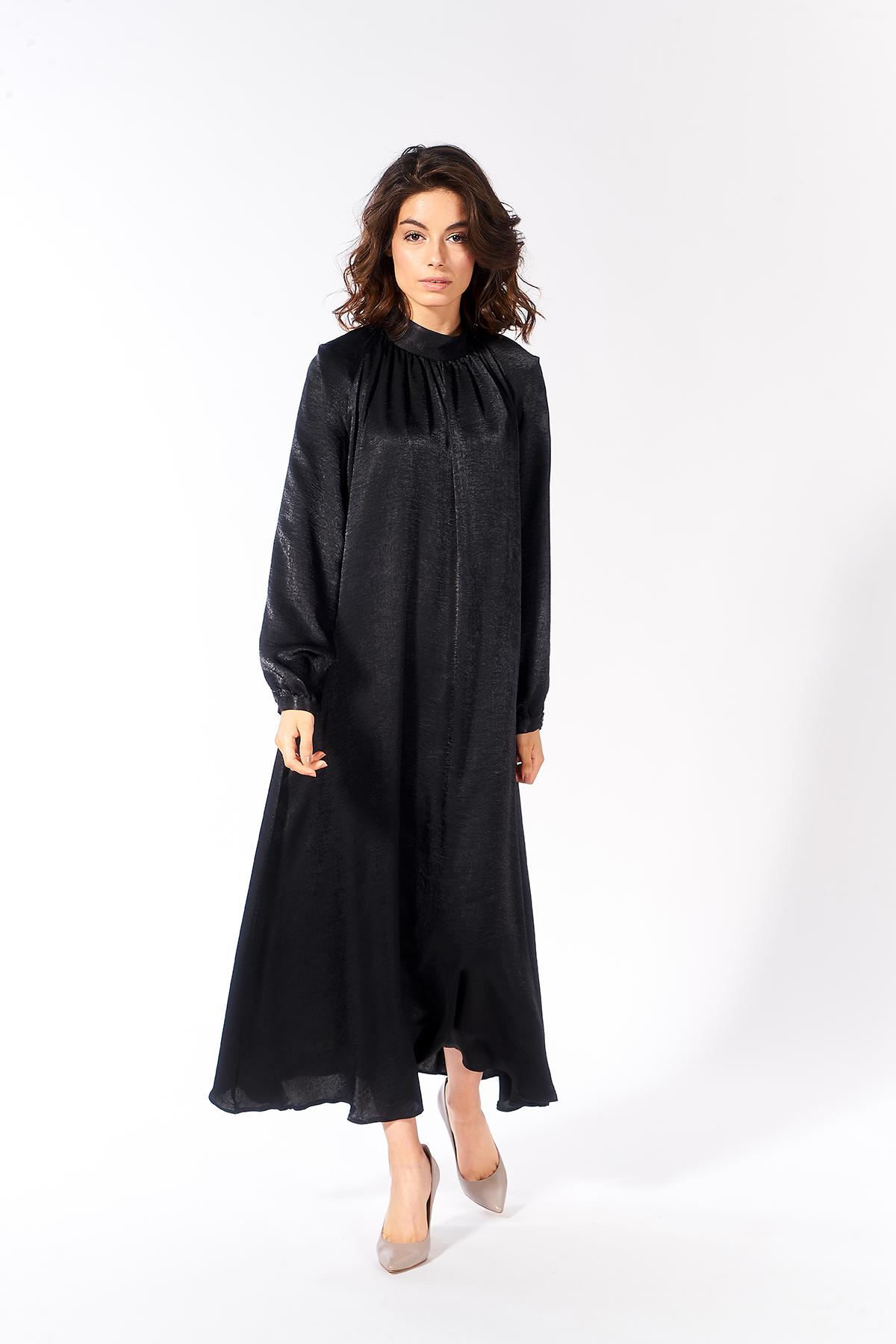 Mevra - Büzgülü Elbise Siyah