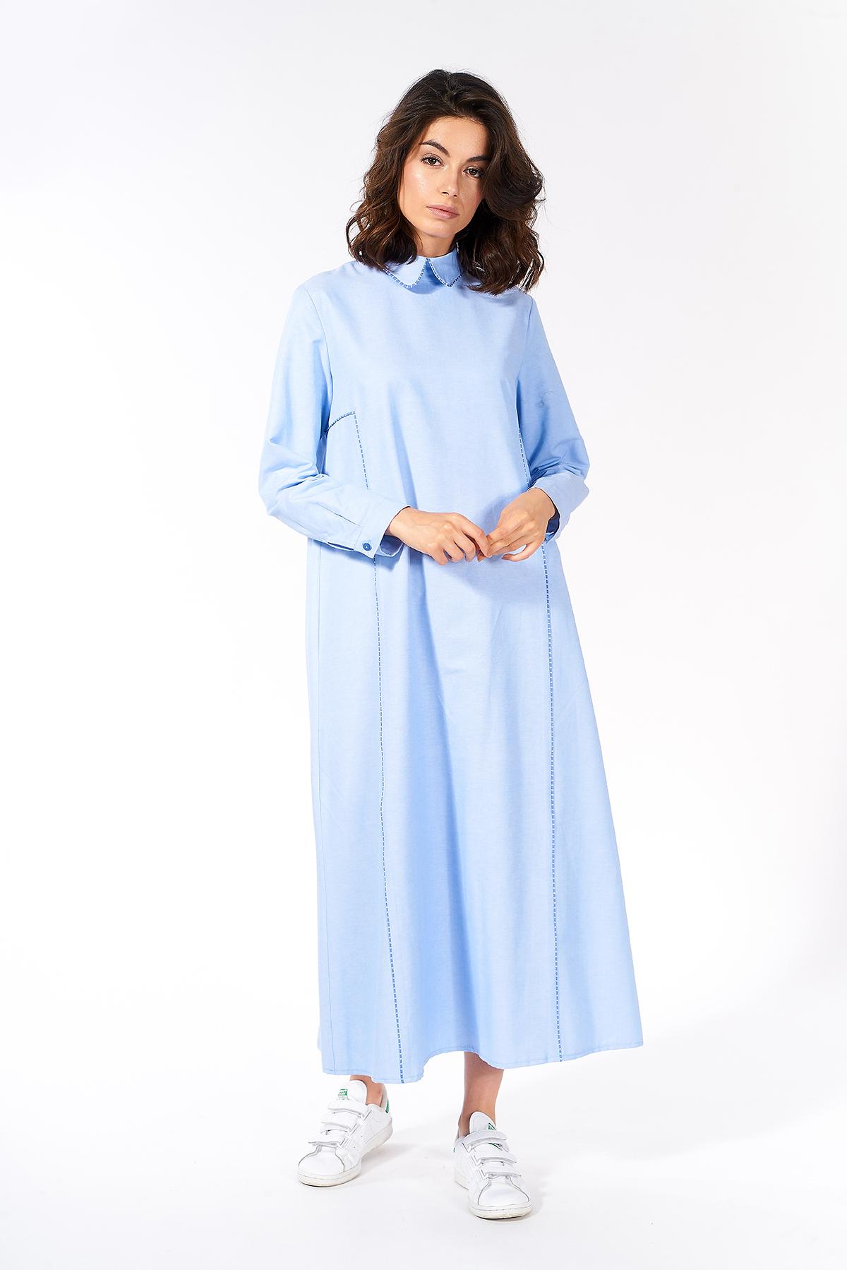 Mevra - Çizgili Biyeli Yaka Elbise Mavi