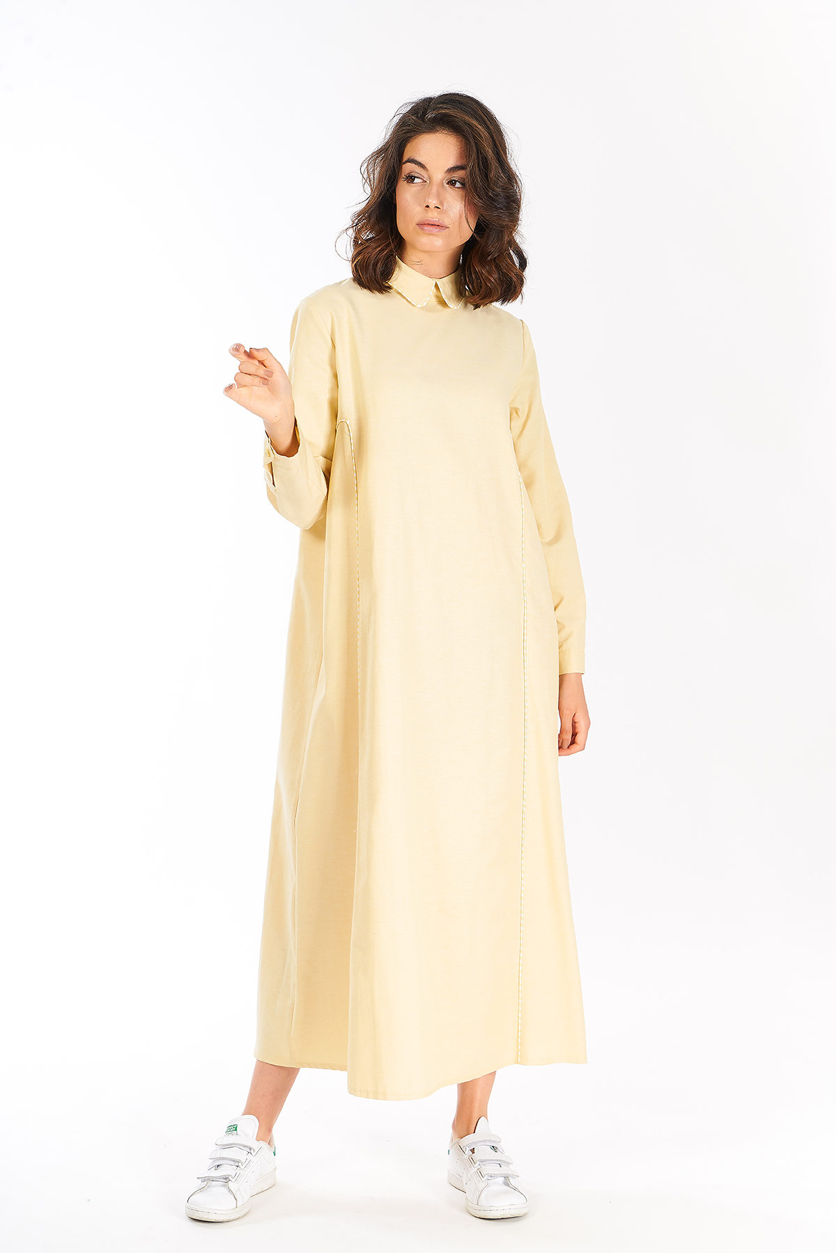 Mevra - Çizgili Biyeli Yaka Elbise Sarı