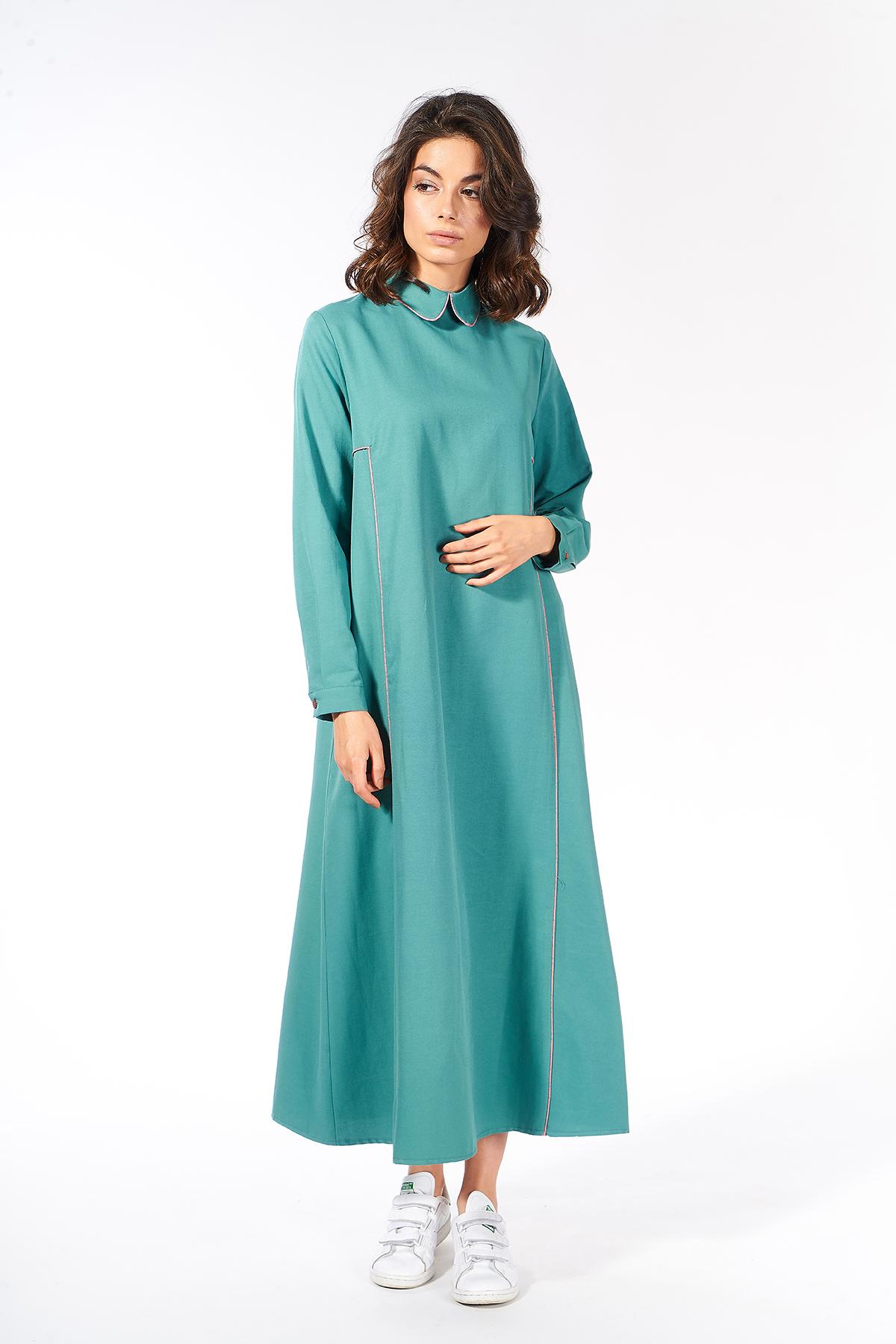 Mevra - Çizgili Biyeli Yaka Elbise Yeşil