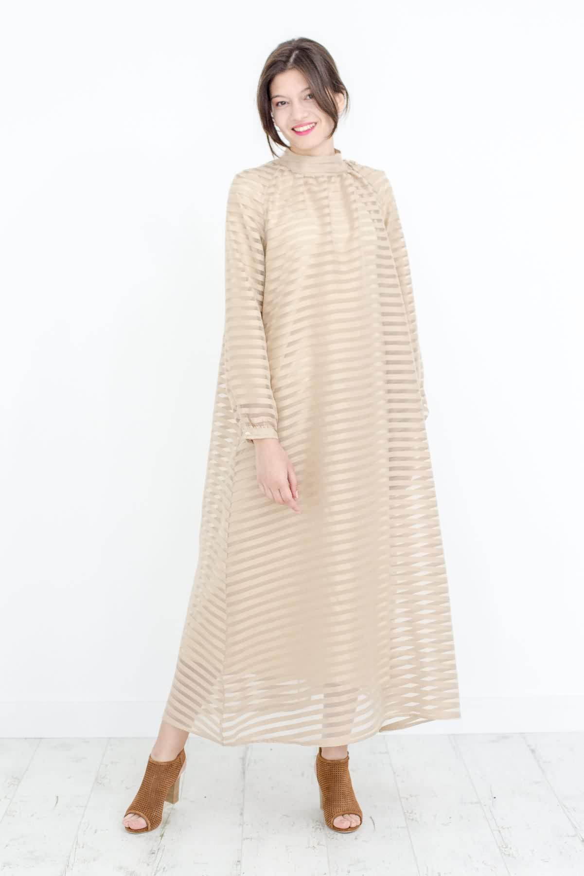 Mevra - Çizgili Elbise Bej