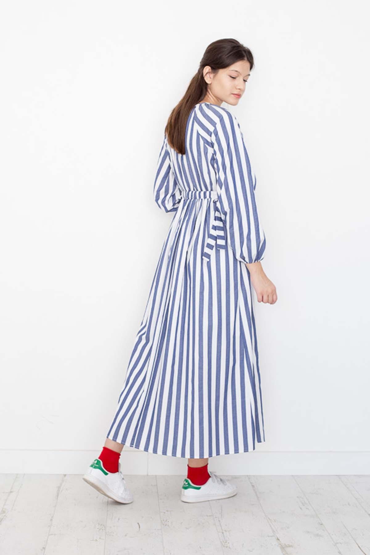 Mevra - Çizgili Kuşaklı Elbise Laci