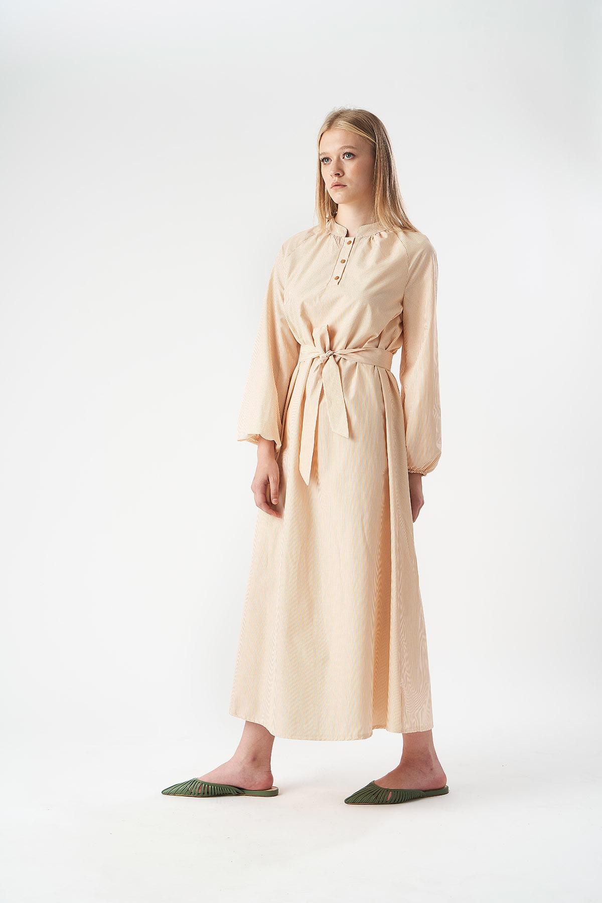 Mevra - Çizgili Poplin Elbise Limon