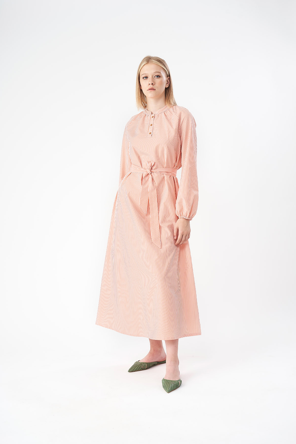 Mevra - Çizgili Poplin Elbise Nar